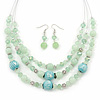 Mint Green Glass & Ceramic Bead Multi Strand Wire Necklace & Drop Earrings Set In Silver Tone - 48cm L/ 4cm Ext