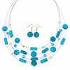 Blue Stripy Shell And Crystal Bead Multi-Strand Necklace And Drop Earrings In Silver Tone - 50cm L/ 4cm Ext