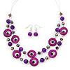 Violet/ Purple Shell & Glass, Crystal Floating Bead Necklace & Drop Earring Set - 46cm L/ 4cm Ext