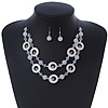 White Shell & Glass, Crystal Floating Bead Necklace & Drop Earring Set - 46cm L/ 4cm Ext
