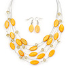 Yellow Shell & Crystal Floating Bead Necklace & Drop Earring Set - 50cm L/ 4cm Ext