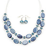 Blue Violet Oval Shell & Round Crystal Floating Bead Necklace & Drop Earring Set - 46cm L/ 4cm Ext