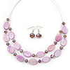 Light Purple Oval Shell & Round Crystal Floating Bead Necklace & Drop Earring Set - 46cm L/ 4cm Ext
