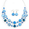 Blue Shell & Crystal Floating Bead Necklace & Drop Earring Set - 46cm Length/ 4cm extension