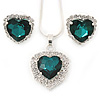 Emerald Green/ Clear Crystal Heart Pendant with Silver Tone Chain and Stud Earrings Set - 44cm L/ 6cm Ext