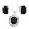 Black/ Clear Crystal Square Pendant with Silver Tone Chain and Stud Earrings Set - 44cm L/ 5cm Ext