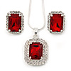 Red/ Clear Crystal Square Pendant with Silver Tone Chain and Stud Earrings Set - 44cm L/ 5cm Ext