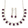Bridal/ Wedding/ Prom Amethyst Purple/ Clear Austrian Crystal Necklace And Drop Earrings Set In Silver Tone - 36cm L/ 11cm Ext