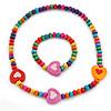 Children's Multicoloured Heart Wooden Flex Necklace & Flex Bracelet Set