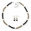 Light Silver Snowflake Metal Rings with Black/ Grey Glass Beads Necklace and Drop Earrings Set - 44cm L/ 6cm Ext