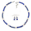 Light Silver Snowflake Metal Rings with Sapphire/ AB Blue Glass Beads Necklace and Drop Earrings Set - 44cm L/ 6cm Ext