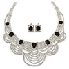 Bridal, Wedding, Prom Clear/ Jet Black Austrian Crystal Layered Necklace and Stud Earrings Set In Silver Tone - 36cm L/ 6cm Ext