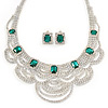 Bridal, Wedding, Prom Clear/ Emerald Green Austrian Crystal Layered Necklace and Stud Earrings Set In Silver Tone - 36cm L/ 6cm Ext