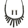 Black Crystal Bar Necklace and Stud Earrings Set In Black Tone Metal - 28cm L/ 11cm Ext