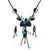 Exquisite Y-Shape Teal Blue Rose Necklace & Drop Earring Set In Black Metal - 42cm L/ 6cm Ext/ 9cm Front Drop