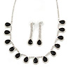 Bridal/ Wedding/ Prom Jet Black/ Clear Austrian Crystal Necklace And Drop Earrings Set In Silver Tone - 36cm L/ 11cm Ext