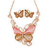 Romantic Glass, Crystal Pastel Gold/ Pink Butterfly Necklace & Stud Earrings In Gold Tone Metal - 40cm L/ 8cm Ext - Gift Boxed