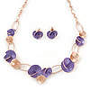 Romantic Purple/ Rose Gold Matt Enamel 3D Floral Necklace & Stud Earrings In Rose Gold Metal - 39cm L/ 8cm Ext - Gift Boxed