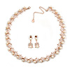 Bridal/ Wedding/ Prom Cream Faux Pearl, Clear Crystal Necklace with Drop Earrings Set In Rose Gold Metal - 43cm L/ 9cm Ext - Gift Boxed