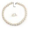 13mm Cream Faux Pearl Glass Bead Chunky Necklace and Stud Earrings Set with Silver Tone Closure - 46cm L/ 5cm Ext