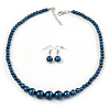Dark Blue Graduated Glass Bead Necklace & Drop Earrings Set In Silver Plating - 44cm L/ 4cm Ext
