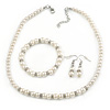 5mm, 7mm White Faux Pearl Glass/ Crystal Bead Necklace, Flex Bracelet & Drop Earrings Set In Silver Plating - 42cm L/ 5cm Ext