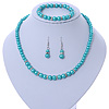 5mm, 7mm Aqua/ Cyan Glass/ Crystal Bead Necklace, Flex Bracelet & Drop Earrings Set In Silver Plating - 42cm L/ 5cm Ext