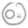 12mm Grey Glass Bead Necklace, Flex Bracelet & Drop Earrings Set In Silver Plating - 46cm L/ 5cm Ext