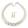 2 Strand White Faux Pearl Glass Bead Necklace and Drop Earrings Set - 45cm L/ 4cm Ext