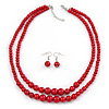 2 Strand Layered Saturated Red Graduated Glass Bead Necklace and Drop Earrings Set - 50cm L/ 4cm Ext