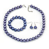 12mm Purple Glass Bead Necklace, Flex Bracelet & Drop Earrings Set In Silver Plating - 46cm L/ 5cm Ext
