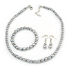 5mm, 7mm Light Grey Glass/ Crystal Bead Necklace, Flex Bracelet & Drop Earrings Set In Silver Plating - 42cm L/ 5cm Ext