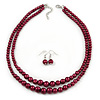 2 Strand Layered Cranberry Red Graduated Glass Bead Necklace and Drop Earrings Set - 50cm L/ 4cm Ext