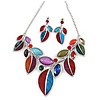 Statement Multicoloured Glass, Crystal Leaf Necklace and Drop Earrings In Rhodium Plating - 40cm L/ 8cm Ext