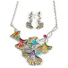 Pastel Enamel 'Spring Foliage' Floral Necklace and Drop Earrings Set In Rhodium Plating - 44cm L/ 7cm Ext