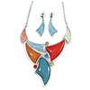 Multicoloured Enamel, Glass Geometric Necklace and Drop Earrings In Rhodium Plating Set - 42cm L/ 7cm Ext