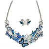 Romantic Blue Glass, Enamel, Crystal Butterfly Cluster Necklace and Stud Earrings In Rhodium Plating - 42cm L/ 7cm Ext