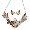 Statement Brown Enamel, Glass Butterfly Necklace and Stud Earrings Set In Rhodium Plating - 41cm L/ 7cm Ext