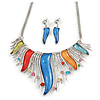 Rhodium Plated Multicoloured Glass, Crystal 'Flames' Necklace and Drop Earrings - 42cm L/ 8cm Ext