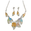 Pastel Enamel 'Spring Foliage' Floral Necklace and Drop Earrings In Rhodium Plating - 42cm L/ 8cm Ext