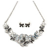 Glittering Grey Enamel, Clear Crystal Multi Butterfly Necklace and Stud Earrings Set In Rhodium Plating - 42cm L/ 7cm Ext