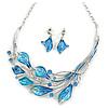 Matt Blue Enamel, Crystal Leaf Necklace and Drop Earrings In Rhodium Plating - 45cm L/ 7cm Ext