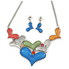 Multicoloured Glass Heart Necklace and Drop Earrings Set In Silver Tone - 42cm L/ 7cm Ext