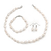 12mm Classic White Oval Ringed Freshwater Pearl Bead Necklace, Bracelet and Drop Earrings Set In Silver Tone - 41cm L Necklace/ 17cm L Bracelet