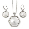 Stylish White Pearl Style Six-Sided Geomentric Pendant and Drop Earrings In Rhodium Plating (48cm Chain)