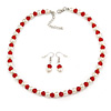 Red Glass Bead, White Glass Faux Pearl Neckalce & Drop Earrings Set with Silver Tone Clasp - 40cm L/ 4cm Ext
