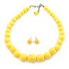 Pineapple Yellow Acrylic Bead  Choker Style Necklace And Stud Earring Set In Silver Tone - 38cm L/ 5cm Ext