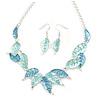 Matt Pastel Blue Enamel Leaf Necklace and Drop Earrings Set In Light Silver Tone Metal - 45cm L/ 7cm Ext