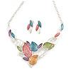 Matt Pastel Multicoloured Enamel Leaf Necklace and Stud Earrings Set In Light Silver Tone - 44cm L/ 7cm Ext