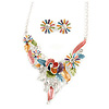 Matt Pastel Multicoloured Enamel, Clear Crystal Floral Necklace and Stud Earrings In Light Silver Tone - 45cm L/ 7cm Ext